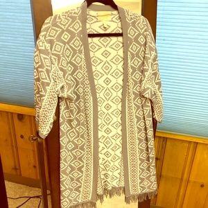 Stickfix, white and grey cardigan